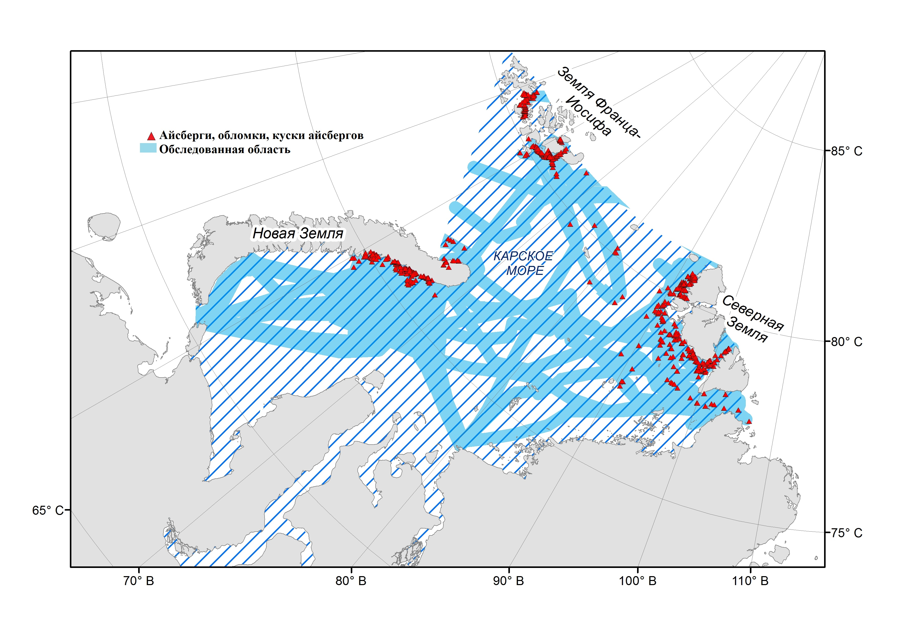 Specific Features of Iceberg Distribution According to Shipborne Observations in the Kara Sea in 2004-2019
